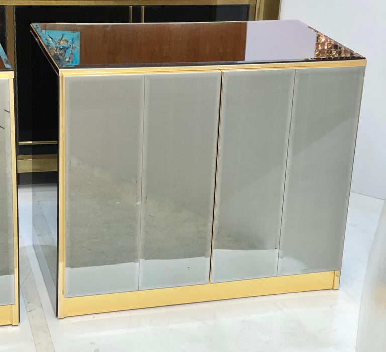 Pair of Ello Mirrored Double Door Chests For Sale 3