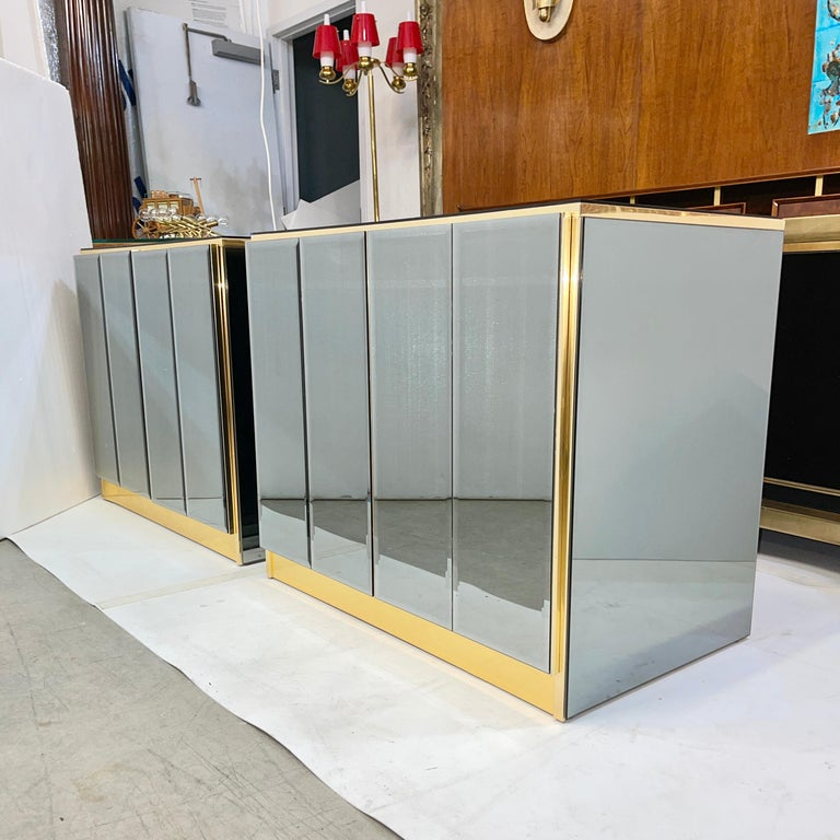 Hollywood Regency Pair of Ello Mirrored Double Door Chests For Sale
