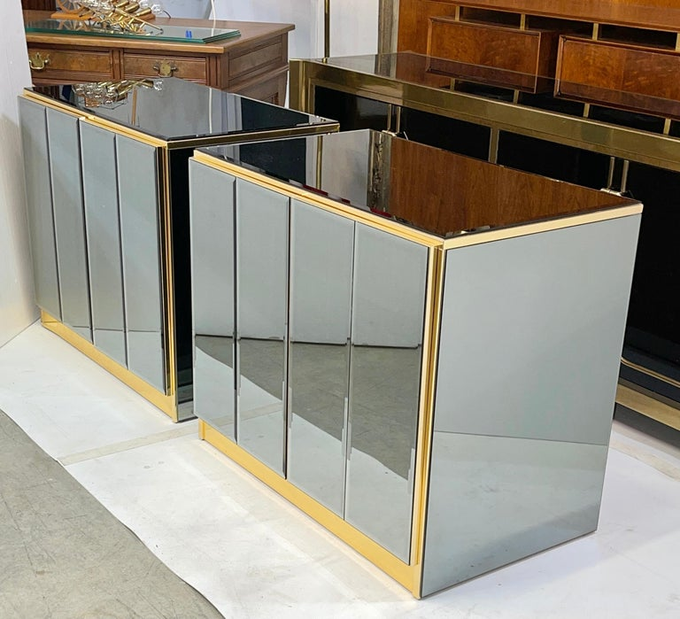 American Pair of Ello Mirrored Double Door Chests For Sale