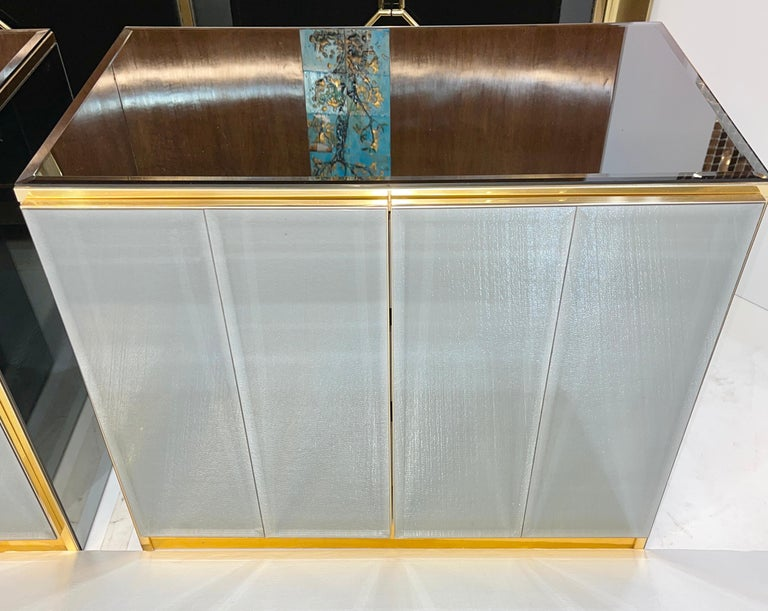Anodized Pair of Ello Mirrored Double Door Chests For Sale