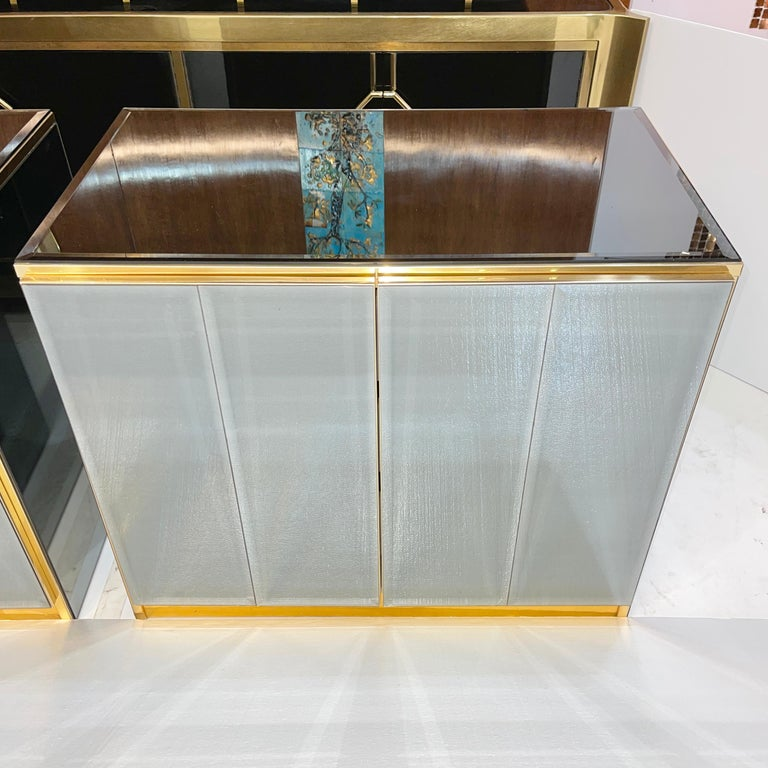 Pair of Ello Mirrored Double Door Chests In Good Condition For Sale In Hingham, MA