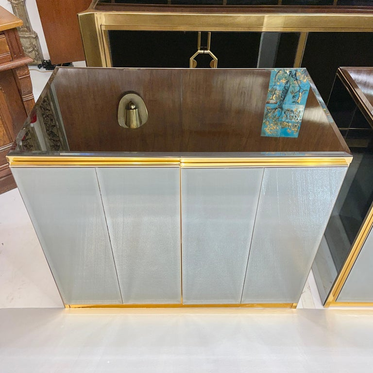 Late 20th Century Pair of Ello Mirrored Double Door Chests For Sale