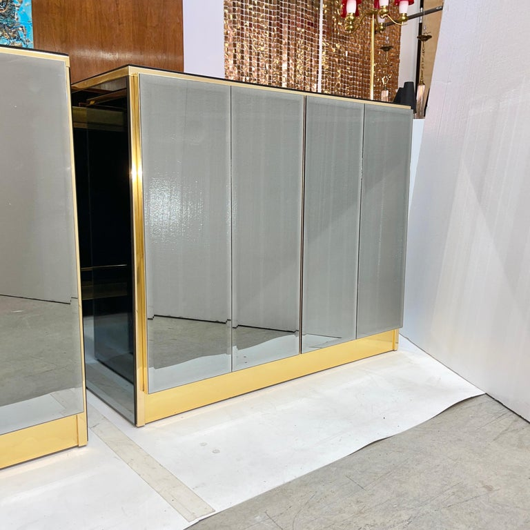 Brass Pair of Ello Mirrored Double Door Chests For Sale
