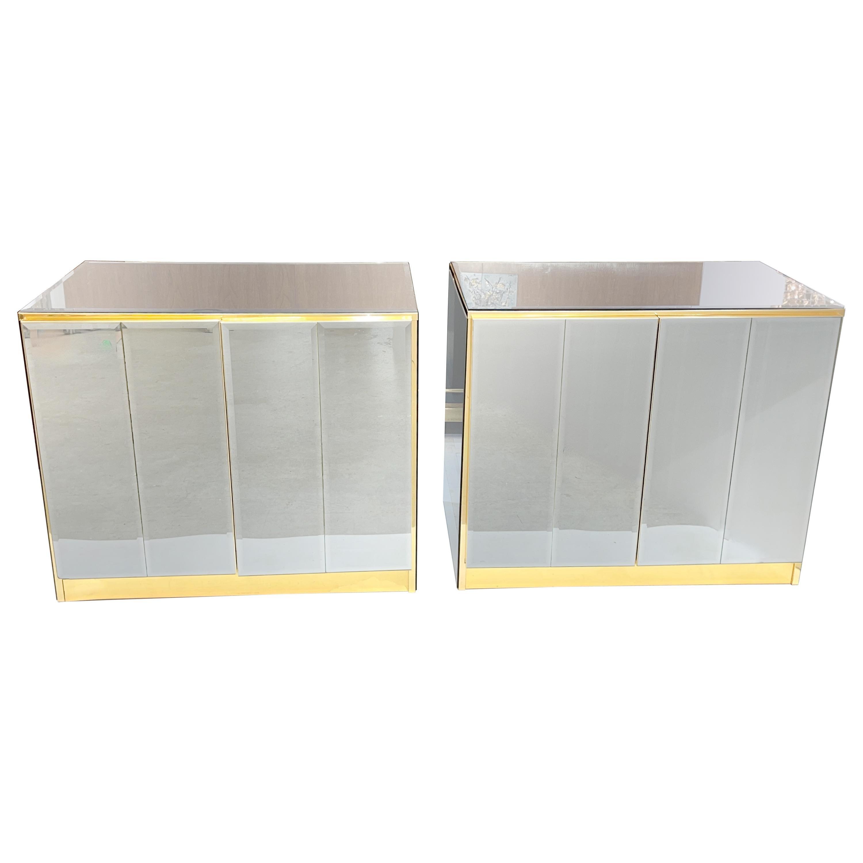 Pair of Ello Mirrored Double Door Chests