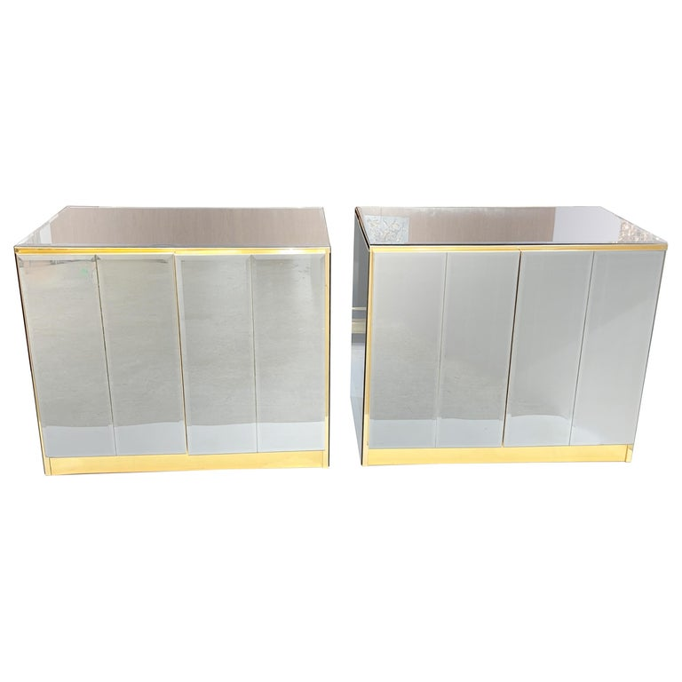 Pair of Ello Mirrored Double Door Chests For Sale