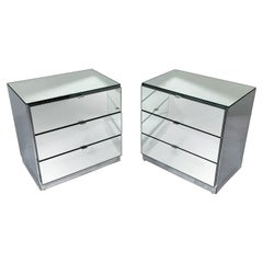 Pair of Ello Mirrored Three-Drawer Cabinets or Nightstands, circa 1980s