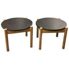 Pair of Elm and Black Stone Side Tables, by Robert Sentou, France, 1968