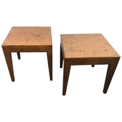 Pair of Elm Burl Wood Italian Modernist Tables 1940s after Willy Rizzo
