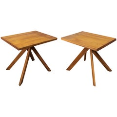 Pair of Elm Tables, Model T27A by Pierre Chapo