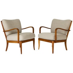 Pair of Elmwood Lounge Chairs by G.A. Berg, Sweden, 1940s