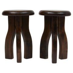 Pair of Elmwood Three Legged Brutalist Stools or Small Side Tables, France 1960s