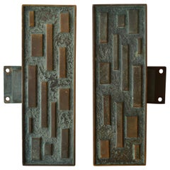 Pair of Elongated Bronze Geometric Push and Pull Door Handles