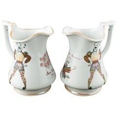 Pair of Elsmore & Forster Puzzle Jugs, 19th Century