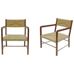 Pair of Emanuele Rambaldi Modernist Armchairs, Italy, 1940s