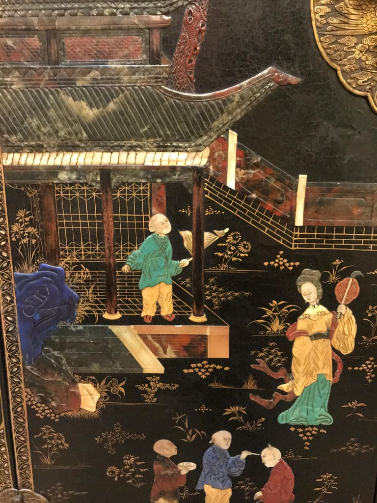 Lacquered Pair of Embellished Chinese Lacquer Cabinets For Sale