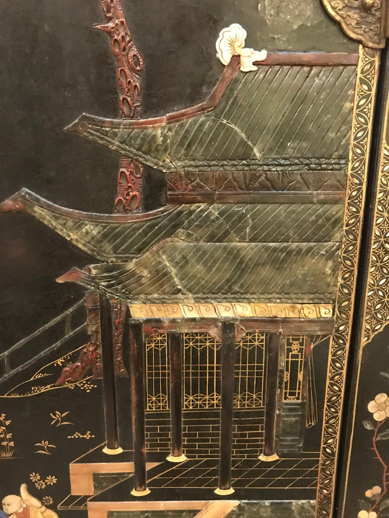 Pair of Embellished Chinese Lacquer Cabinets For Sale 2