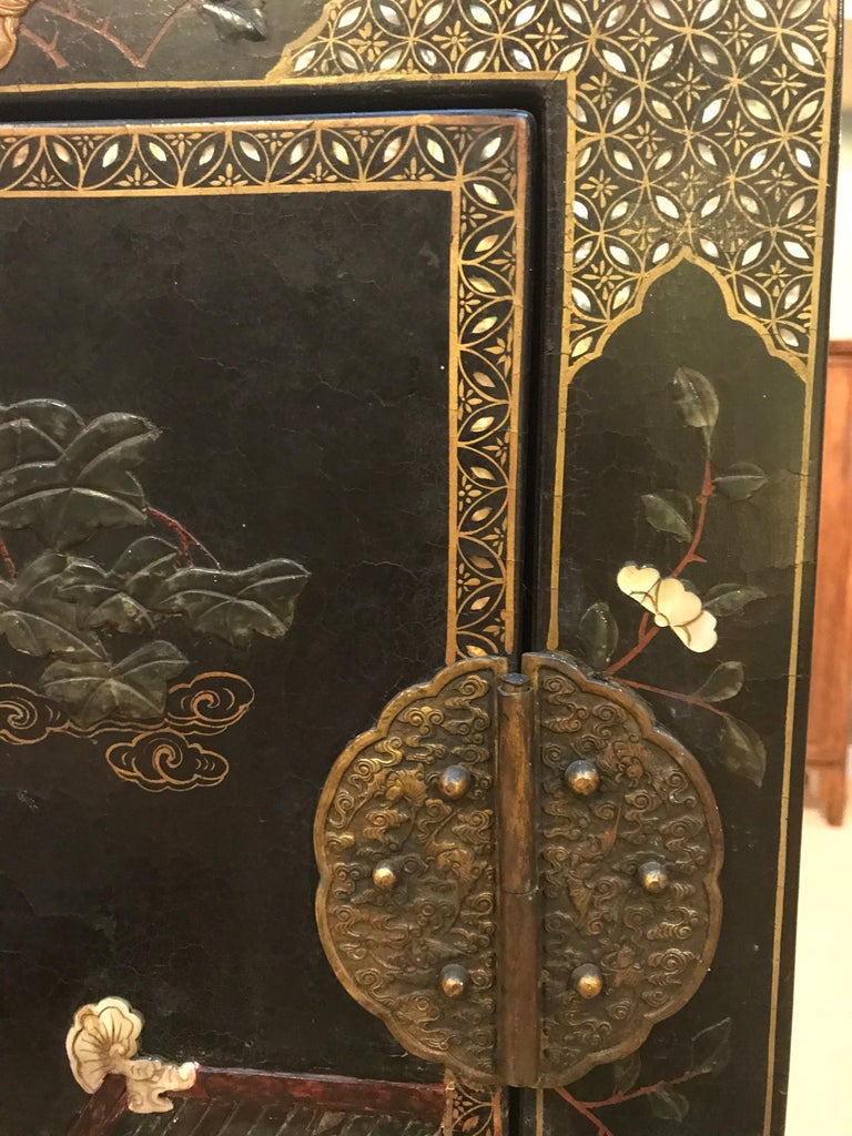 Pair of Embellished Chinese Lacquer Cabinets For Sale 3