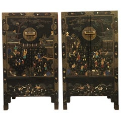 Pair of Embellished Chinese Lacquer Cabinets