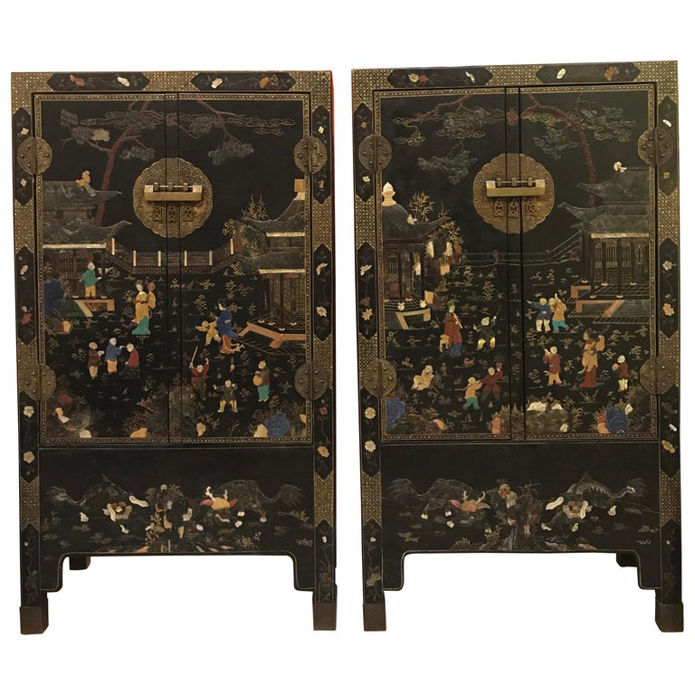 Pair of Embellished Chinese Lacquer Cabinets For Sale