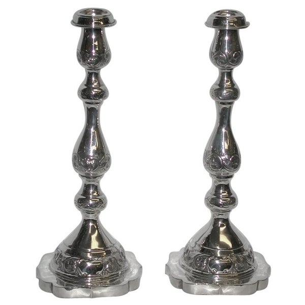 Pair of Embossed Jewish Style Candlesticks, London Assay, 1941