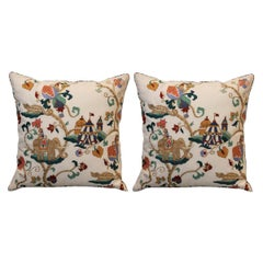 Pair of Embroidered Cotton Pillows with Circus Theme & Multicolour Back