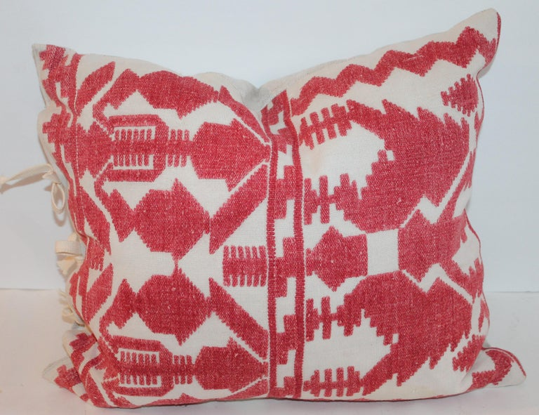 Adirondack Pair of Embroidered Linen Tribal Pillows For Sale