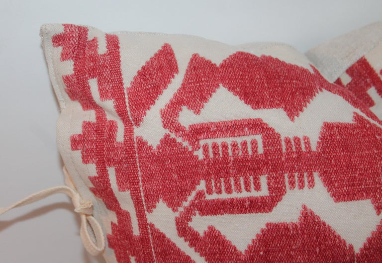 American Pair of Embroidered Linen Tribal Pillows For Sale