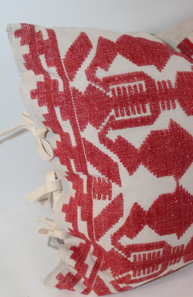 Hand-Woven Pair of Embroidered Linen Tribal Pillows For Sale