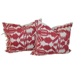 Pair of Embroidered Linen Tribal Pillows