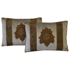Pair of Embroidery Pillows, Antique Trim