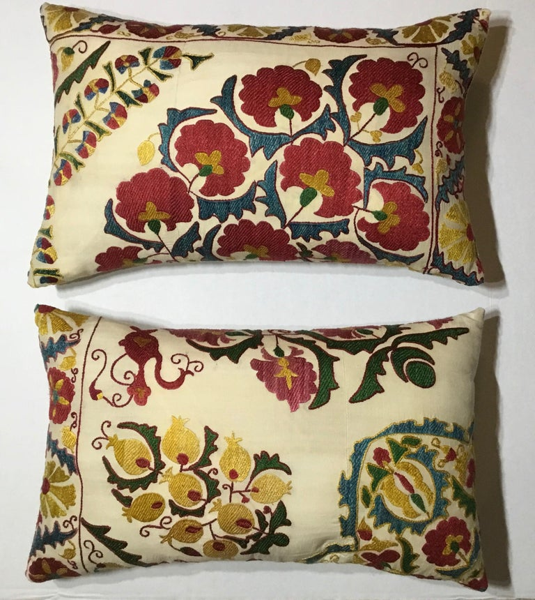 Pair of Embroidery Suzani Pillows For Sale 8