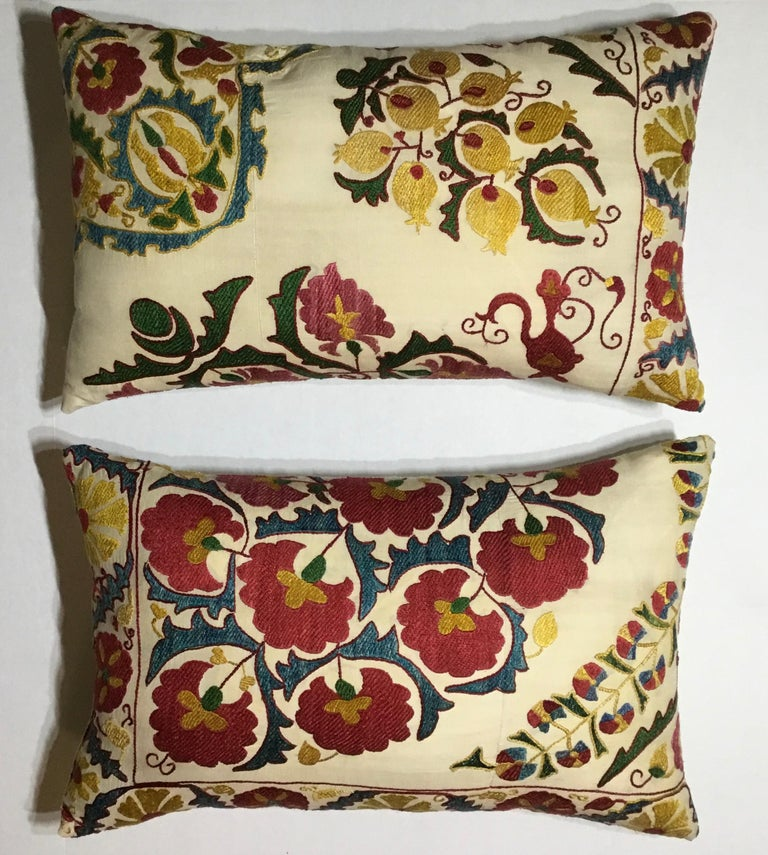 Pair of Embroidery Suzani Pillows For Sale 9
