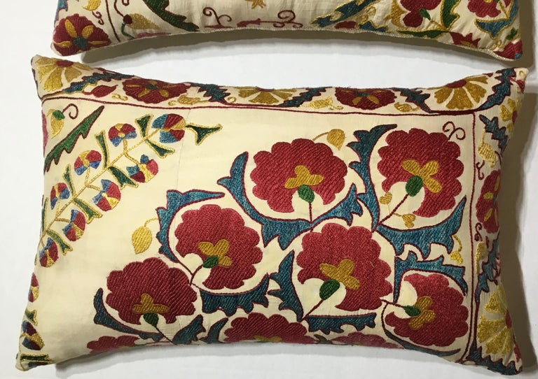 Cotton Pair of Embroidery Suzani Pillows For Sale