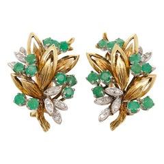 Pair of Emerald and Diamond 14 Karat Gold Earrings