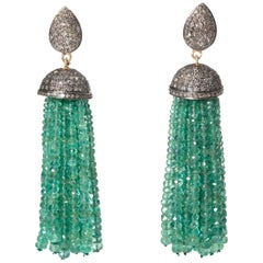 Pair of Emerald and Diamond Tassel Earrings