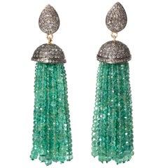 Pair of Emerald and Diamond Tassel Earrings
