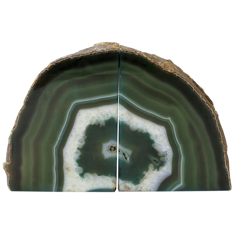 Pair of Emerald Green and White Onyx Bookends For Sale