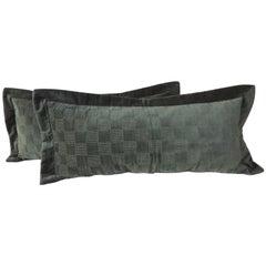 Pair of Emerald Green Cotton Velvet Checkerboard Pattern Bolster Modern Pillows