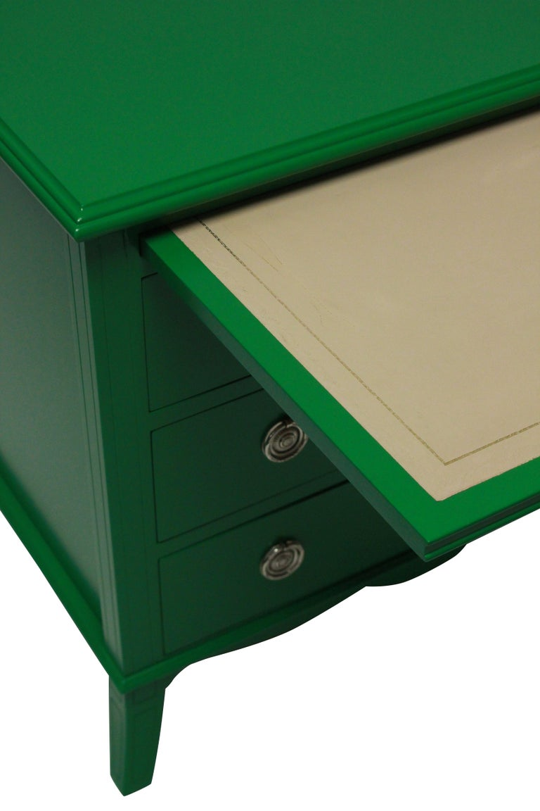 Beech Pair of Emerald Green Lacquered Chests in the Manner of Dorothy Draper