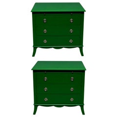 Pair of Emerald Green Lacquered Chests in the Manner of Dorothy Draper