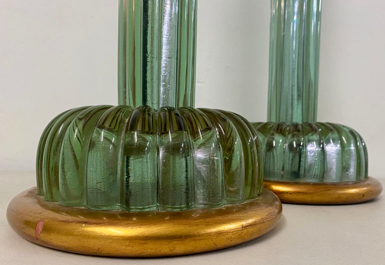American Pair of Emerald Green Murano Glass Lamps by Marbro Lamp Company, circa 1950 For Sale