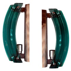 Pair of Emerald Green Murano Glass Wall Lights, Florence Italy 1970s