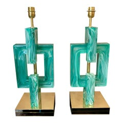 Pair of Emerald Green Murano Table Lamps, 1970s