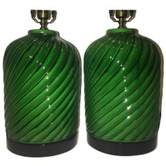 Pair of Emerald Green Porcelain Lamps