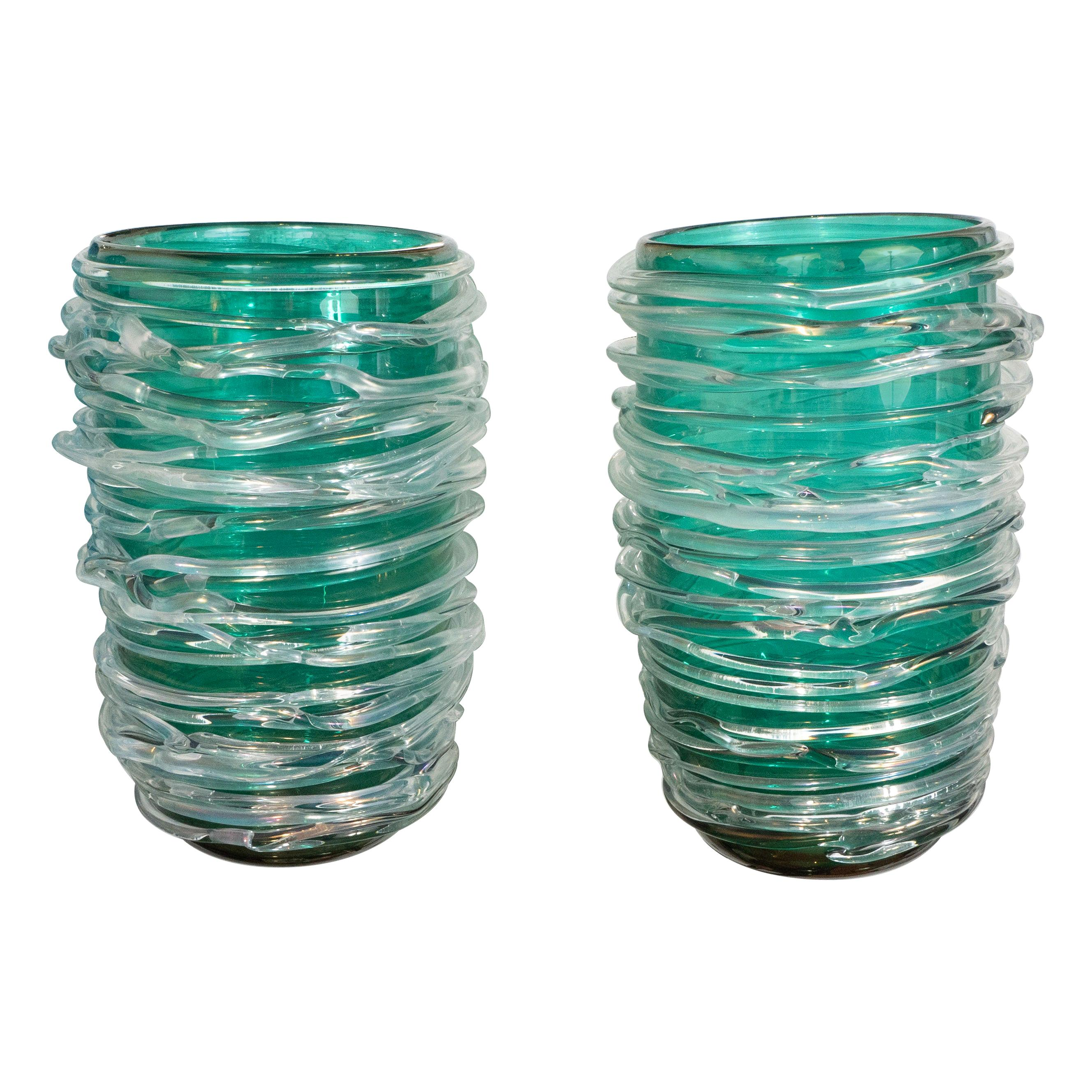 Pair of Emerald Green Swirl Murano Glass Vases by Cenedese, Signed, 2019