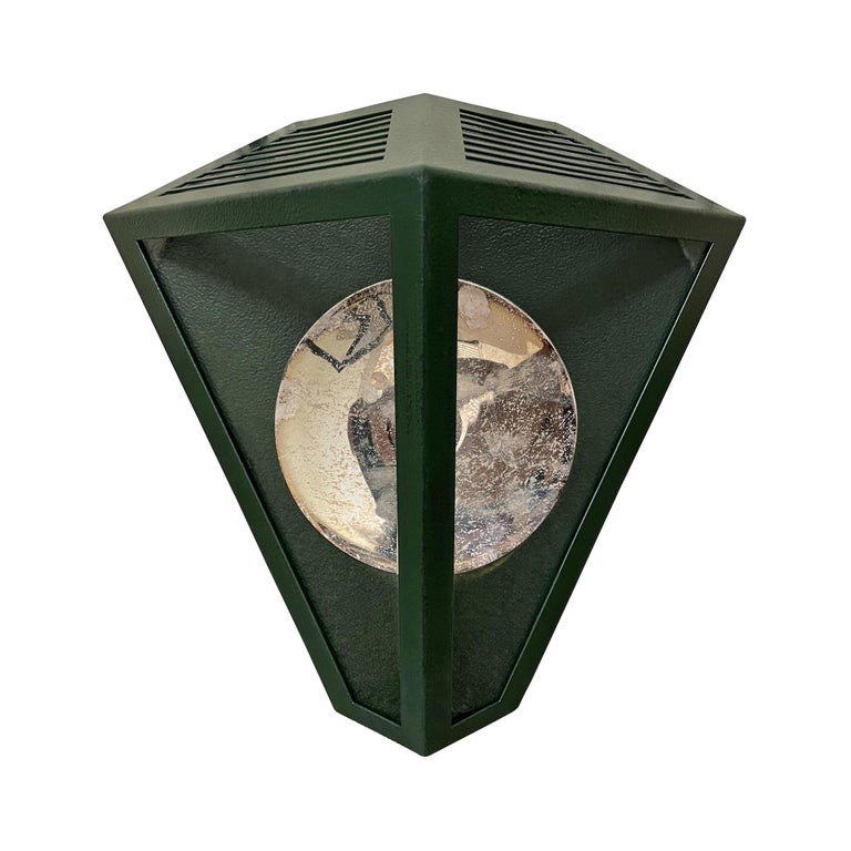 American Pair of Emerald Green Wall Lanterns with Reflectors For Sale