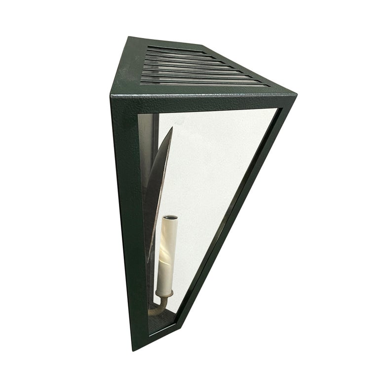 Pair of Emerald Green Wall Lanterns with Reflectors For Sale 1