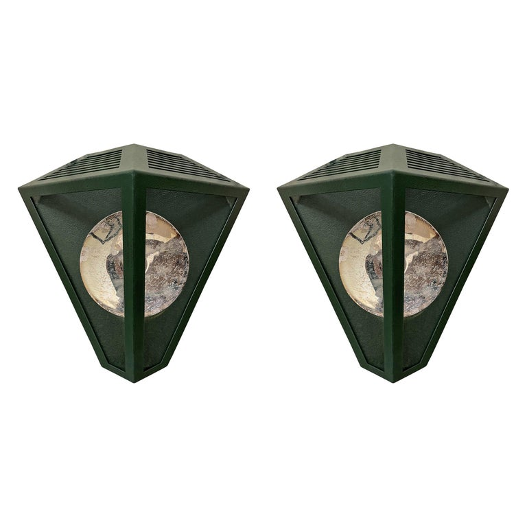 Pair of Emerald Green Wall Lanterns with Reflectors For Sale
