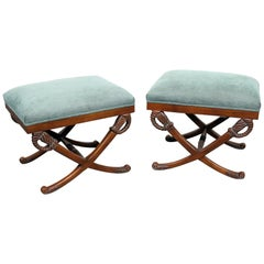 Pair Sword and Scabbard French Regency Style Carved Benches Stools