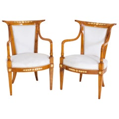 Pair of Empire Armchairs, Cherry, Italy Early 19th Century